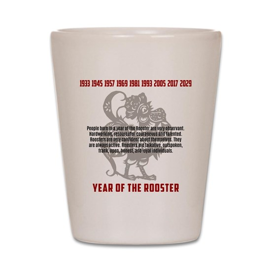 Chinese Zodiac Rooster Traits Shot Glass