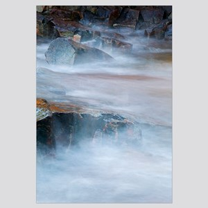 View of mist over rocky Lake Superior, from Artist