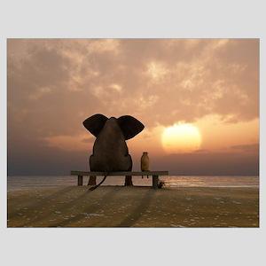 Elephant And Dog Friends Wall Art