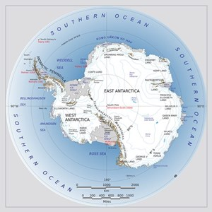 Antarctica Labeled Map Wall Art