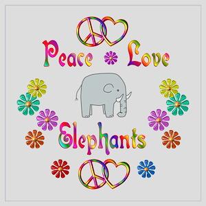 Peace Love Elephants Wall Art