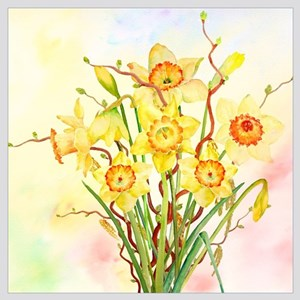 Watercolor Daffodils Yellow Spring Flowers