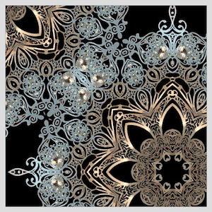 bohemian floral metallic mandala