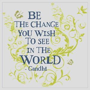 Gandhi Vine - Be the change - Blue & Green Mini Po
