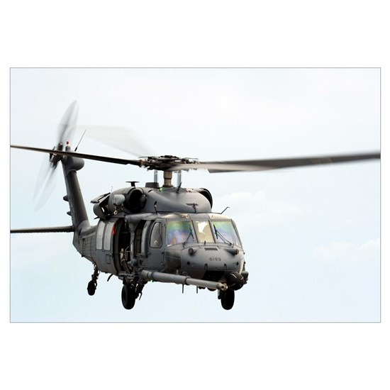 An HH60 Pave Hawk helicopter conducts search and