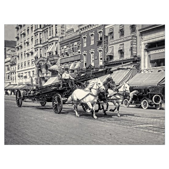 Vintage Horse Drawn Fire Truck (black and white)