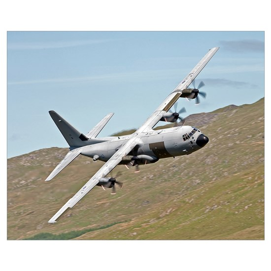 A C 130J Super Hercules low flying over North on a