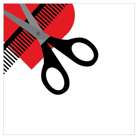 scissors & comb & heart