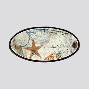 seashells nautical map vintage anchor Patches