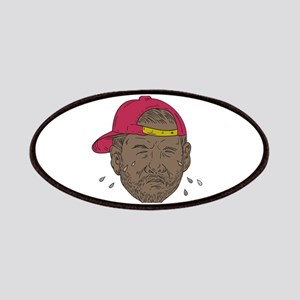 African-American Rapper Crying Drawing Patch