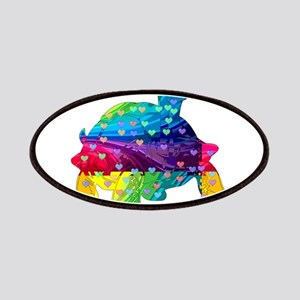 Rainbow Turtle With Multicolored Hearts Patch
