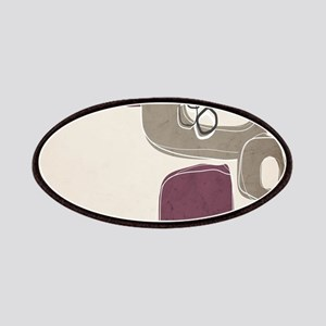 Retro Abstract Design in Taupe and Mulberry Patch
