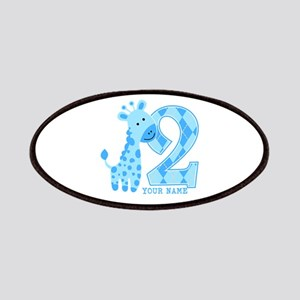 2nd Birthday Blue Giraffe Personalized Patches