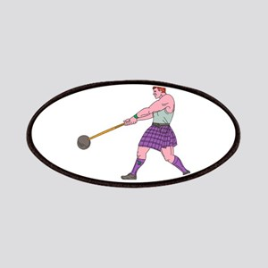 Weight Throw Highland Games Athlete Drawing Patch