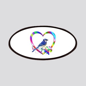 Blue Jay In Colorful Heart Patch