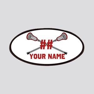 Personalized Crossed Lacrosse Sticks with Red Patc