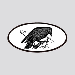 Vintage Raven in Tree Illustration Patches