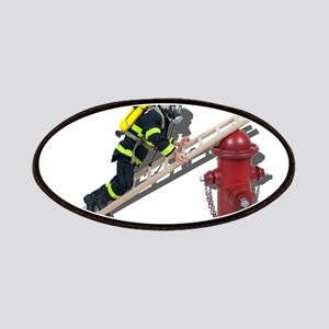 Fireman on Ladder on Fire Hydrant Patches