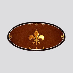 Old Leather with gold Fleur-de-Lys Patches