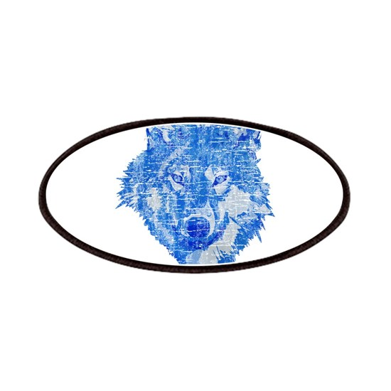 Distressed Blue wolf head cp