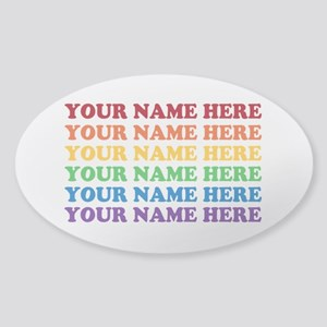 Rainbow Custom Text Sticker (Oval)