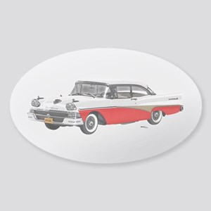 1958 Ford Fairlane 500 White & Red Sticker (Oval)