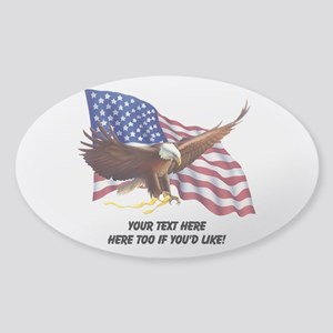 PERSONALIZED AMERICAN FLAG EAGLE SA Sticker (Oval)