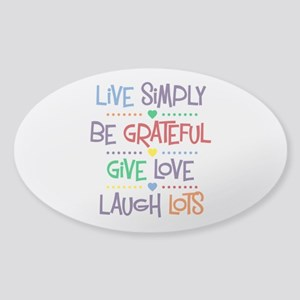 Live Simply Affirmations Sticker (Oval)