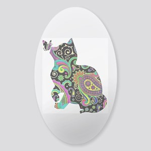 Paisley cat and butterfly Sticker