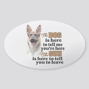 Beware of Dog/Gun (German Shepherd) Sticker (Oval)