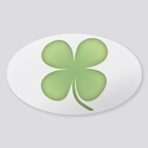 Lucky Irish Four Leaf Clover Sticker (Oval)