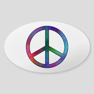 Multicolor Peace Sign Oval Sticker