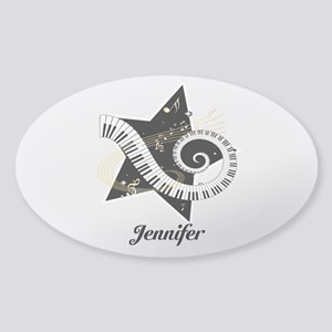Music star gold black Sticker (Oval)