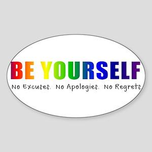 Be Yourself (Rainbow) Sticker (Oval)