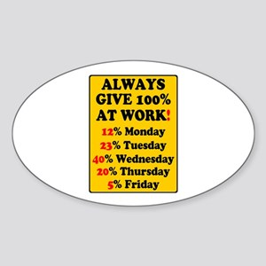 YELLOW SIGN - ALWAYS GIVE 100% AT WORK - Sticker