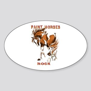 Paint Horses Rock Oval Sticker