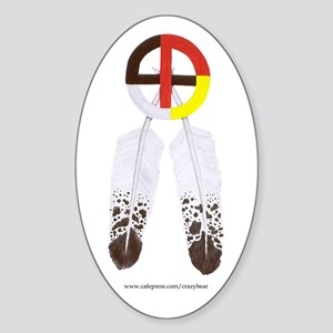 Medicine Wheel w/ Feathers Oval Sticker