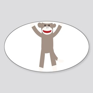 Excited Sock Monkey Sticker (Oval)