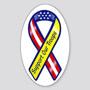 Support Our Troops Ribbon Sticker (Oval)
