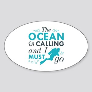 The Ocean Is Calling Sticker (Oval)