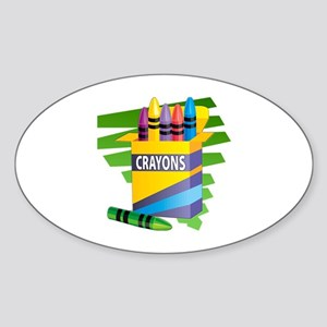 Crayons Oval Sticker