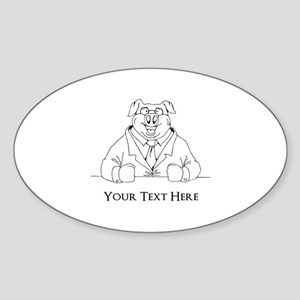 Pig in Suit. Custom Text Sticker (Oval)