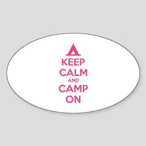 Keep calm and camp on Sticker (Oval)