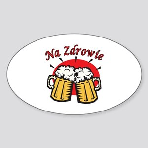Na Zdrowie Toast With Beer Mugs Sticker (Oval)