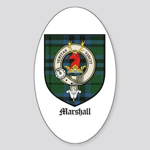 Marshall Clan Crest Tartan Oval Sticker