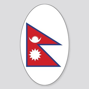 Nepal Flag Sticker (Oval)