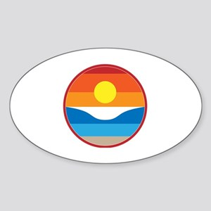 Horizon Sunset Illustration with Cr Sticker (Oval)