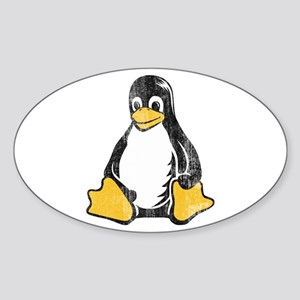 linux tux penguin Oval Sticker