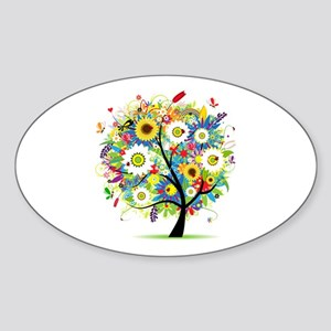 summer tree Sticker (Oval)