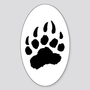 BLACK Bear Paw Oval Sticker